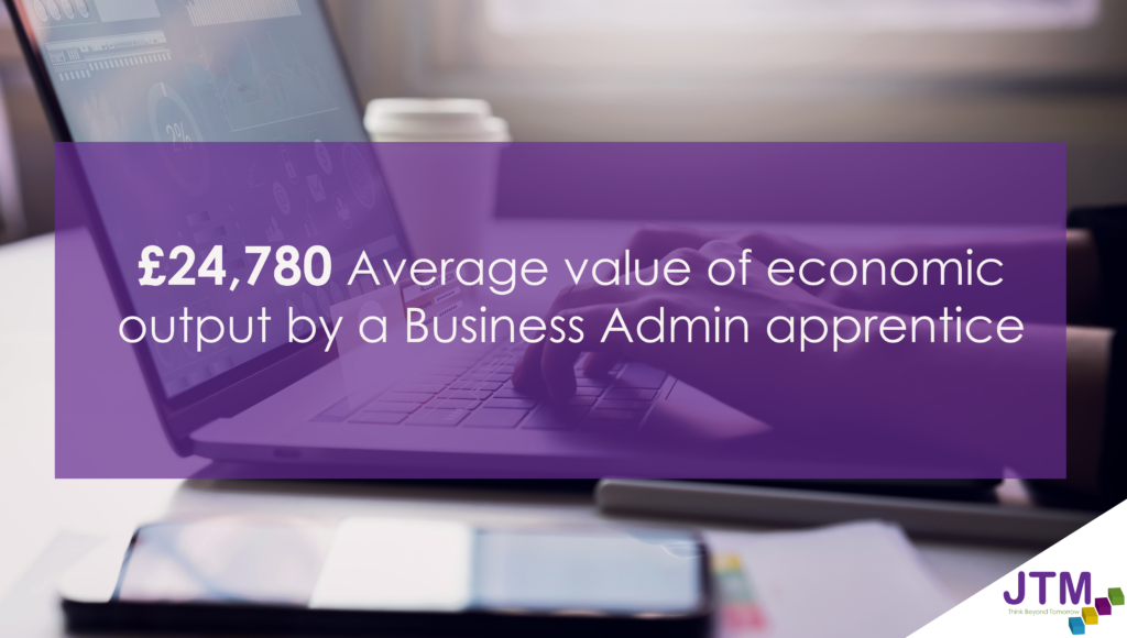infographic to show £24,780 is the Average value of economic output by a Business Admin apprentice